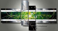 Cheap Framed 4 Panel Huge Modern Art Wall Picture Black White and Green Oil Painting on Canvas XD00041