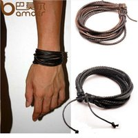 Wholesale HOT Wrap Leather Bracelets Bangles for Men and Women Black and Brown Braided Rope Fashion Man Jewelry PI0246