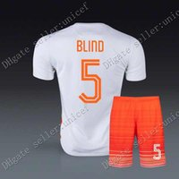 Wholesale BLIND copa America Holland away white Soccer Jersey Soccer Uniforms with orange shorts Netherlands Football Jersey men s sportswear