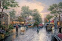 Oil Painting avenues hand painted - Famous artwork Thomas Kinkade oil Painting Reproduction Carmel Sunset on Ocean Avenue Hand painted High quality