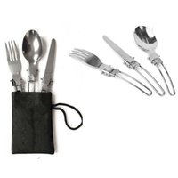 Wholesale DHL Set Lightweight Stainless Steel Knife Fork Spoon Set Folding Outdoor Camping