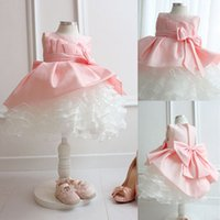 Wholesale New flower girl dresses for weddings pink bow little girls pageant dresses vestido de dama de honra de crianca kids dresses