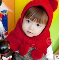 baby s hat - New Girls Scarf Hat Korean Fashion Cute Children s hat Winter Kids big shawl hat Children hooded shawl crochet baby cap CX066