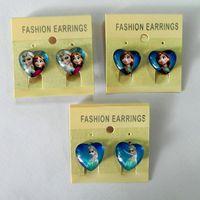 screw back earrings - 3 styles New KIDS Earrings Screw Back Anna Elsa Clip on earrings Cartoon girl earrings Charm LJJA1460 pair