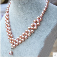 Wholesale the Freshwater pearl necklace fashion dress with fancy multi row S925 fine silver pendant jewelry genuine