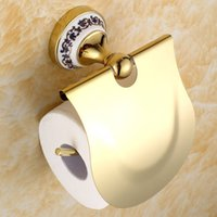 paper plate holders - Toilet paper holder toilet paper roll holder carton Continental antique gold plated bathroom toilet tissue box compartment