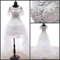 Wholesale Lace Fation Wedding Dresses High Low Bridal Gowns Unique Beaded Short Sleeves Train Wedding Gowns DZ