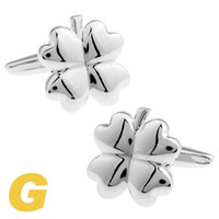Wholesale High Quality New Classic Silver Copper Mens Wedding Cufflinks Novelty Rare Fancy Clover Clean Cloth