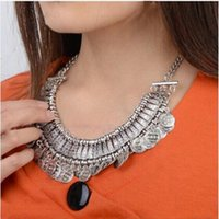 ats alloy - European and American silver bib necklace exaggerated retro metallic coin statement necklace carved ATS Jewelry