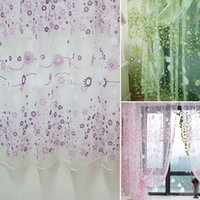 Wholesale Chic Room Lovely Flower Pattern Voile Window Curtain for Door Window Room Decoration Window Screening Pastoral Curtains Bedroom Decor H16138