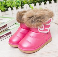Wholesale Retail Korean Children Girls Boots Soft Bottom Child Angel Wings Baby Girl Thickening Snow Boots Pink White Rose Red Fit Years