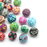 Wholesale 2014 NEW Polymer Clay Beads Round Flower Mixed mm Dia quot mm quot HOT sale New Arrival Over Free Express