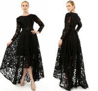 Wholesale 2015 Elegant Black Long Sleeve Plus Size Special Occasion Dresses Formal Lace Hi Lo Party cocktail Gown