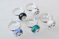 base bead - FASHION silver plated rings Finding Fit Charm glass Beads Base Ring r0301