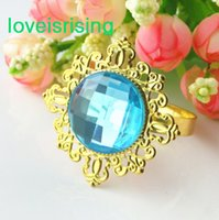 aqua napkin - Lowest Price Aqua Blue Gold Plated Vintage Style Napkin Rings Wedding Bridal Shower Napkin holder