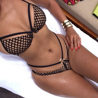 Wholesale 2015 New Sexy Triangle Bandage Bikini Set Grid Swimwear swimsuit Vintage Push Up Biquini Lace Swimwear Pin Up Bikinis for Women