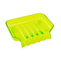 Wholesale New Plastic Waterfall Drain Soap Dish Saver Sponge Clean and Dry Holder With Suction Cup Green and Orange