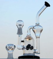Wholesale 2015new Double chamber Recycler Rigs glass water pipes with honeycomb per and tyre perc with mm joint