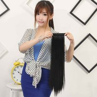 Wholesale The new long straight hair wig ponytail pat circle ponytail ponytail straight red rose to a generation of fat