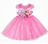 TuTu beaded lanterns - DHL Kids Frozen fever anna elsa princess shiny paillette Dress Children Princess Cartoon Dress