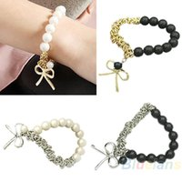 beeds bracelet - New Exquisite Cute Lovely Imitation Charm Pearl Bowknot Beeds Bangle Bracelet Jewelry for Women Dress KF NBM