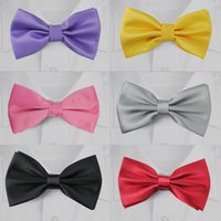 Wholesale 100 polyester silk ties colors plaid bow ties for men leopard ties silk school boy bowties for evening party neck tie set