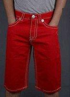 Wholesale New Cotton Men s True Jeans Shorts Men s Casual Jeans Cool Shorts Denim Capris Straight Leg Fit Red High Quality