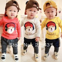 Wholesale new winter baby clothing headset plus thick velvet backing shirt T shirt baby winter clothing made in china