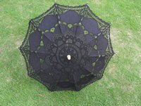 parasols - handmade diameter inches white ivory and black colors classic long handle bridal wedding lace parasols