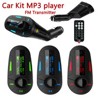 Wholesale LCD Display Wireless FM Transmitter Modulator with Remote for Car Kit MP3 Player colors DHL free