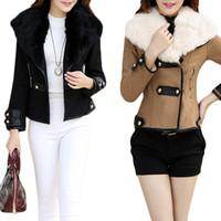 womens jackets - S5Q Womens Winter Jacket Warm Lady Faux Fur Collar Short Slim Tunic Coat Outwear AAAEIP