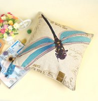 Wholesale Home Decor Dragonfly Print Cushion Cover Home Car Sofa Decorative Pillowcase Cover Colors order lt no track