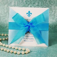 Wholesale 2015 Cheap Personalized Wedding Invitations Cards With Bow Wedding Accessory X10CM Wedding Decorations For Weddings