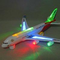 Wholesale Bump Go Aeroplane Flashing Led Light Music Airbus Aircraft model toy A380 Plane model Kids Toys
