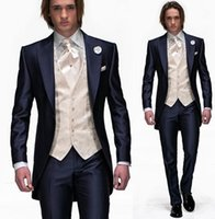 boys brown suit - 2015 High Quality Luxury Blue Taffeta Groom Tuxedos Wedding Party Groomsman Suit Boys Suit Piece Jacket Pants Tie Vest Bridegroom Suit