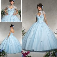 ball water feature - Sky Blue Ball Gown Flowers Featured Quinceanera Dresses With Jacket Sweetheart Ruched Lace Up Back Floor Length Organza Fabric