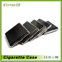 Wholesale Classic Leather Alloy PU Cigarette Case Box Metal Holder Cigars Black