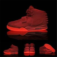 Wholesale New Air Yeezy II Kanye West Rerto Men s Basketball Shoes Athletic shoes Red October Glow In The Dark