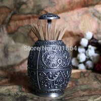 Wholesale Vintage Home Decor Egg Shaped Automatic Toothpick Holder Metal Art Table Decoration