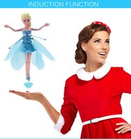 Wholesale Cartoon Christmas Frozen Flying Fairy Electronic Toys For Kids Flitter With LED Light Music Induction Remote Control Free DHL Factory Price