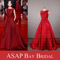 Wholesale Real Sample Picture Elie Saab Evening Dress A Line Satin Evening Gown With Lace Appliques