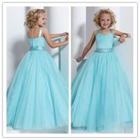 girls knee length pageant dresses - Queenwedding A Line Cupcake Dresses for Little Kids Spaghetti Flower Girl Dresses Floor Length Children Pageant Dresses Light Sky Blue SX438