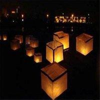 Lampe eau carrés lanternes chinoises carrés Bénédiction de lumière Krathong Festival de lanternes Souhaitant eau de la rivière Candle Light lanternes de papier flottant