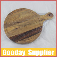 acacia cutting boards - Kitchenware Acacia Wooden Round Shape Cutting Board with Handle Produced by Own Factory