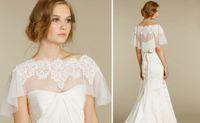 Wholesale 2015 Exquisite Charming Bridal Wraps Applique Shawl Bateau Cap Short Sleeves High End White Chiffon Wedding Jacket
