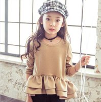 baby girl tees - New Arrival Babies Girls Ruffles Cotton Fashion Tees Shirts Long Sleeve Western Candy Color Fall Winter Christmas Warm Tops