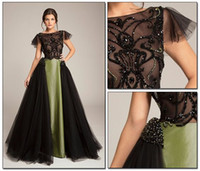 abed mahfouz - Black Green Unique Evening Dresses Sexy Sheer Neck Cap Sleeves Sequins Beaded Tulle Taffeta See Through Abed Mahfouz Prom Dresses
