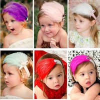 Cheap Feather Headband for Girls Fashion Hair Accessories Infant Headband Solid Color Feather Accessories DHL Free Shipping