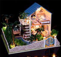 Precio de Amante de bricolaje de madera montar-Tamaño mayor-Large Montaje DIY kit modelo en miniatura de madera amante romántico Doll House Muebles soñar con casa de boneca de regalo de Navidad