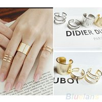 Band Rings Asian & East Indian Unisex 3Pcs Set Fashion Top Of Finger Over The Midi Tip Finger Above The Knuckle Open Ring EH076